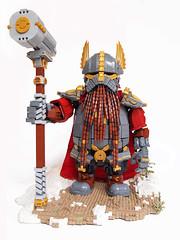 Rori Dulgisson, fron view (Dwalin Forkbeard) Tags: moc lego dwarf warhammer fantasy total war thane warlord hammer maxifigure cape runes gold gromril medieval beer concept