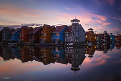Reitdiephaven (VandenBerge Photography (On/off ....but mostly off) Tags: groningen nationalgeographic lonelyplanet thenetherlands water reflection bluehour sky europe clouds composition longexposure le colourful city waterscape