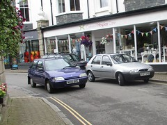 A Trio of Twenty Somethings (occama) Tags: m610brl p197cpd citroen ax spree purple ford 1994 1997 fiesta old cars cornwall uk street village silver bangernomics