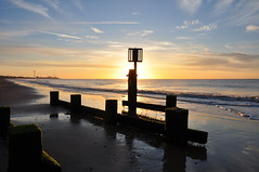 Early in the morning (series 2) (Kirkleyjohn) Tags: beach suffolk sun sunrise sunshine summer light shore shoreline sea seaside seashore seascape sands silhouette groyne