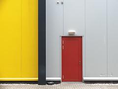 Yellow vs Red (Strange Artifact) Tags: fuji fujifilm x30 yellow red grey industry door