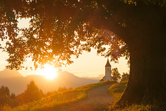 Sunny golden morning (Dejan Hudoletnjak) Tags: landscape goldenhour sunrise sun sunrays sunny warm orange colorful nature church mountains