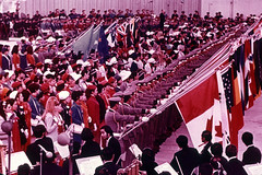 22 National flags of participating countries Opening Ceremony (adelaidefire) Tags: world exposition 1970 expo 70 suita osaka japan sk colour slides 35mm