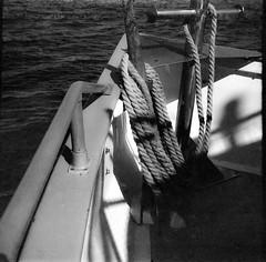 bow, ship, rope, railing, Elizabeth Ann, Monhegan Boat Line, Maine, Zeiss Ikonta M, arista.edu 200, Moersch Eco Film Developer, September 2016 (steve aimone) Tags: bow ship boat rope railing monheganboatline elizabethann zeissikontam aristaedu200 moerschecofilmdeveloper monhegan maine blackandwhite monochrome monochromatic 6x6 120 film 120film folder