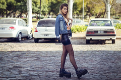 Yae Distrito Centro 04 (Matias Terré - Fotografía Creativa) Tags: portrait girl city winter people street travel urban architecture fashion woman adult telephone pavement sexy book hot one outdoors exterior session test urbano moda skirt modelo luggage sesion invierno long socks