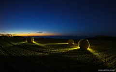 'Haybales and The Northern Arc, Port Mulgrave' (john&mairi) Tags: port mulgrave haybales lightpainting yorkshire uk cliffs stars twilight gloaming