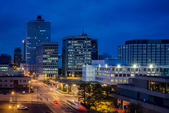 Blue Hour - Memphis, Tennessee (nicklaborde) Tags: 500px sky city downtown travel urban architecture cityscape road traffic building evening skyline skyscraper illuminated business tennessee tn memphis transportation system