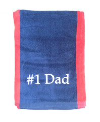 Navy and Red Rugby Towel (initial_impressions) Tags: embroidered personalized redandbluerugbytowel dadtowel