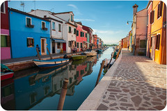 Burano in full colour (JDWCurtis) Tags: burano island colour colours water waterway waterfront canal boat boats house houses street townscape town holiday solo solotraveller venice venezia frame border path pavement cobbled cobbles reflection reflections