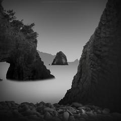 tiny island (*Jin Mikami*) Tags: landscape sea water nature travel bw rock tree japan black white monochrome surreal mountain bnw outdoors minimalism photoshopped pentax