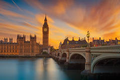 Big Ben orange sunset (Bernhard Sitzwohl) Tags: london sehenswürdigkeiten sonnenuntergang bigben sunset orange sight landmark leefilter filtrage ndfilter thames river riverbanks bridge tower building office parliament uk gb city travel space outdoor sky dawn dawnlight