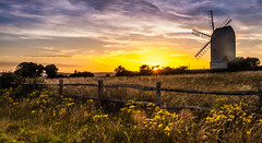 Windmills of my mind (Bearded Bushcrafter & Photography) Tags: photography lanscape windmill sunset colours yellow sun fence flowers southdowns sussex lewes brighton falmer horse rollinghills beautiful location sky clouds blues orange explore