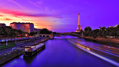 Paris (PokemonaDeChroma) Tags: hdr paris longexposure bright vibrant sunset evening seine river light colorful harmony slow slowdownthatcrowd high dynamic range imaging boat bridge eiffeltower france lighttrail illumination canondpp photomatix photoshop sky reflection canon eos 6d lens ef24105mm street city landscape