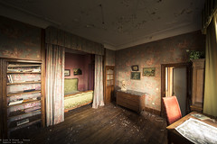 Behind the Curtain (Dennis van Dijk) Tags: chateau fachos decay derelict abandoned forgotten lost found dust bed room curtain moody vintage retro desk wall paper