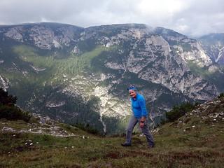 Edita on Croda de l'Arghena, with Monte Piana behind