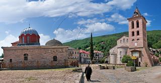 Πρωτάτο Καρυές άγιον όρος Protato Karyes S.Mount Athos panorama