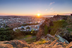 The Sun sets again (Kyoshi Masamune) Tags: edinburgh edinburghcastle sunset scotland uk kyoshimasamune ultrawideangle wideangle panorama citypanorama firthofforth firth forth holyroodpark holyrood arthursseat cokinfilters cokinnd8 cokinnd4 nd8 hdr highdynamicrange