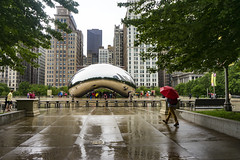 The Man With the Red Umbrella (Flipped Out) Tags: chicago millenniumpark cloudgate