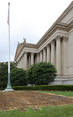 National Archives Building — Washington, D.C. (Pythaglio) Tags: united states national archives building structure edifice historic washington dc districtofcolumbia 1933 1935 neoclassical classical revival stone johnrussellpope portico columns fluting entablature corinthian capitals dentils denticulate pediment eagles hedges shrubs grass american flag pole flagpole