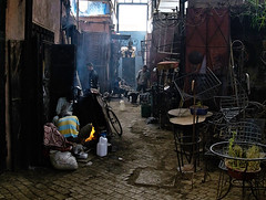 Metalworkers In The Marrakesh Medina (Oldt1mer - Keith) Tags: marrakesh marrakech souk metalworker dark industry fire workers morocco moroccan travel scene market metal medina atmosphere street life amazing platinumheartaward