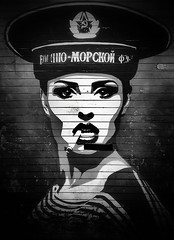 Уличное искусство ! (CJS*64) Tags: manchester samsung samsungj3 j3 cjs64 craigsunter cjs blackwhite bw blackandwhite art streetart shop russian female woman sailor navy russia ussr cccp graffiti northernquarter