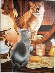 Vision of Grandeur (Daniel Renn Pierce) (Leonisha) Tags: puzzle jigsawpuzzle cat katze puma cougar mirror spiegel reflection