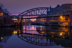 The Three Bridges (Andrew G Robertson) Tags: hafencity hamburg sunrise bridge warehouse canal sunset binnenhafen purple germany deutschland canon5dmkiv mk4 mkiv 5d canon