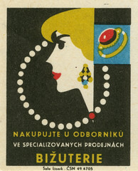 czechoslovakian matchbox label (maraid) Tags: packaging household goods shops czechoslovakia czechoslovakian matchbox label czech lady jewelry necklace pearl earrings ring bizuterie