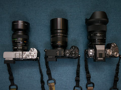 The big guns (Vincent F Tsai) Tags: camera cameraporn gear lenses body mirrorless adapted microfourthirds panasonic minolta metabones speedbooster 85mm leicadgnocticron425mmf12 sigma24mmf14dgart lumixg7 lumixgx8