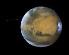 NASA's Hubble Sees Martian Moon Orbiting the Red Planet (NASA's Marshall Space Flight Center) Tags: nasa marshall space flight center msfc goddard gsfc hubble telescope solar system beyond esa european agency science institute stsci mars phobos