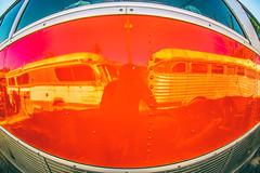 Kiss Me on the Bus (Thomas Hawk) Tags: america california northerncalifornia usa unitedstates unitedstatesofamerica williams abandoned bus red reflection selfportrait fav10
