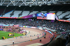 T44 Mens 200m starting line up - settling into the blocks (h_savill) Tags: london 2017 world para athletics championship stratford july stadium competition compete athelete atheletics disability spectator aport track field seat crowd olympic park t44 mens 200m final