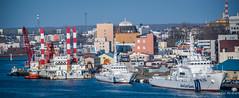 2017 - Japan - Kushiro - Goodbye (Ted's photos - For Me & You) Tags: 2017 cropped japan kushiro nikon nikond750 nikonfx tedmcgrath tedsphotos vignetting kushiroport port kushirojapan ships boats japancoastguard tug tugboat dock water bridge