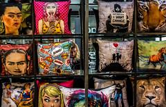 CUSHIONS (Gordon McCallum) Tags: spitalfieldmarket lambstreet bishopssquare london londonengland cushions popart banksycushions sony sonya6000