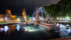 J. F. Archibald Memorial Fountain (Pat Charles) Tags: sydney newsouthwales nsw australia hydepark fountain longexposure night nighttime water reflection reflected reflections urban exploration city tripod nikon travel tourism outdoor outside outdoors cbd archibald church cathedral