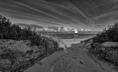 Lets Go Down to the Beach ... (Go placidly amidst the noise and haste...) Tags: burnhamonsea blackandwhite lighthouse somerset coast coastal beach path sandy dawn clouds
