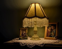 Under The Lamp Light (✿☼Hot & Humid-Whew!!!☼✿) Tags: odc singlelightsource lamp old fringe shade brocade shiny silky pattern metal white doily 3d photos me stu bedroom endtable light shadow