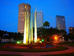UT Sticks of Fire Cityscape (Clay Henry) Tags: universityoftampa tampa sticksoffire downtowntampa bluehour nightfall