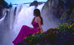 Princess of the forgotten (Greenneck) Tags: portrait outdoors nature waterfalls snoqualmiefalls girl dress fashion naturallight outdoorportrait posed flowersfallcitywashingtonunitedstatesus
