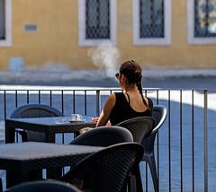 """ A break "" (pigianca) Tags: italy siena woman cigarette coffee streetphoto urbanphoto fujixt1 fujinon90mmf2"