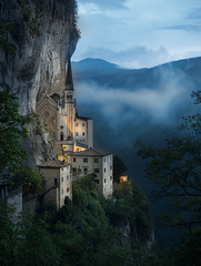 Madonna Della Corona (v-_-v) Tags: madonnadellacorona italy europe italien veneto sanctuary mountain clouds church bluehour trees fog travel landscape sky architecture lights