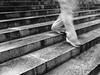 Treppenfix - Stairs quickly (Schnipselgalerie) Tags: monochrome stairs treppe stufen laufen steigen street aachen olympus omd em10 klauswessel olympusomdem10 mft schuhe bewegungsunschärfe sigma 19mm