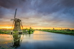 Kinderdijk windmill (ted0071) Tags: mill netherlands sunset romantic water lake light holland canal clouds heritage beautiful travel windmills sunrise waterscape sky windmill culture reflection summer kinderdijk