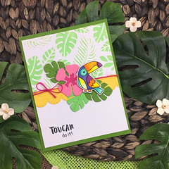 Toucan Party Card 3 (Newton's Nook Designs) Tags: newtonsnook toucan tropical leaves stencil handmadecards stamping