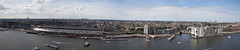 Amsterdam Panorama (PJ Reading) Tags: amsterdam station lookout observationdeck tourist tourism view viewing city pretty cityscape panorama panoramic amsterdamcentraalstation centraal rail railway train passenger pax transport transportation harbour water waterway river holland netherlands europe