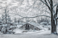 Winter covers the footbridge (Explored 7-15-17) (David DeCamp) Tags: winter snow cold bench bridge landscape