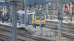 Obscured By The Wires. (ManOfYorkshire) Tags: 321903 arriva trains northern railway platform6 doncaster station catenary overhead wiring electric power mass confusion leeds service stopping ecml eastcoast main line