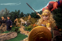 Paprihaven 1095 (MayorPaprika) Tags: canoneos50d 16 custom diorama toy story actionfigure paprihaven 2017 spiderman park turtlecrossing worldpeacekeepers madetomove barbie mattel lea policeofficer captainaction playing mantis queenhippolyta horse wonderwoman
