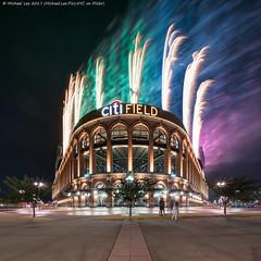 Citi Field Fireworks (20170715-DSC07186-Edit) (Michael.Lee.Pics.NYC) Tags: newyork citifield mlb majorleaguebaseball mets stadium architecture night longexposure fireworks lighttrail smoke rainbow composite blend symmetry square sony a7rm2 voigtlanderheliar10mmf56