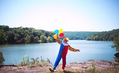 The clowning (Connor Wilkinson) Tags: clowns creepy birthday nature seniorphotos irony lakes rivers streams comedy sadclowns